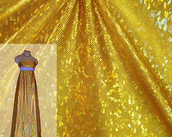 5 Yard/5 Meter Cut Stretch Fabric - Hologram Fabric Shattered Glass Gold on Gold Four way Spandex Fabric Item# RXPN-GOLD