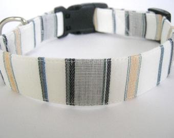 Dog collar Adjustable white black and gray collar Pet collar