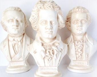 Vintage Beethoven, Mozart, Wagner Composer Busts - Set of 3 - 1970 Arnel's Ceramic Bust Statues with Round Base