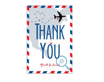 Mail Travel Destination Thank You Card (wedding or personal)