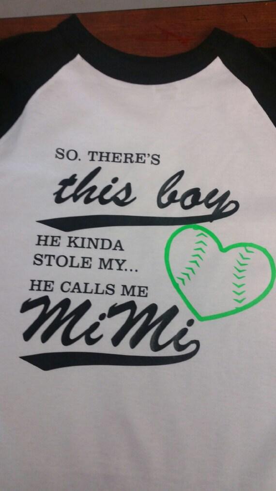 baseball raglan he stole me heart mimi shirt grandma shirt