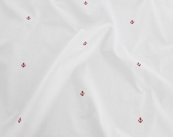 Cotton Fabric with Embroidered Red Anchor By The Yard