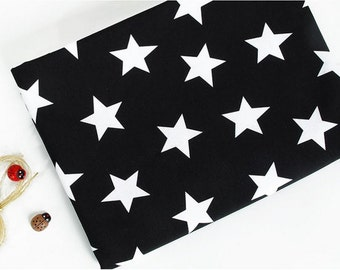 Cotton Jersey Knit Fabric Star Black By The Yard