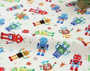 Cotton Fabric Robot By The Yard