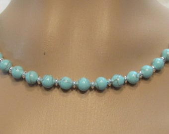 Turquoise and Sterling Silver Beaded Necklace/ Handmade/ Hand Crafted/ Hand Strung/ Turquoise Beaded Necklace