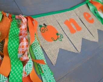 First Birthday One Pumpkin Burlap Bunting Banner Sign Orange with Green Trim, for First Birthday Party Highchair Decoration, or Photo Prop