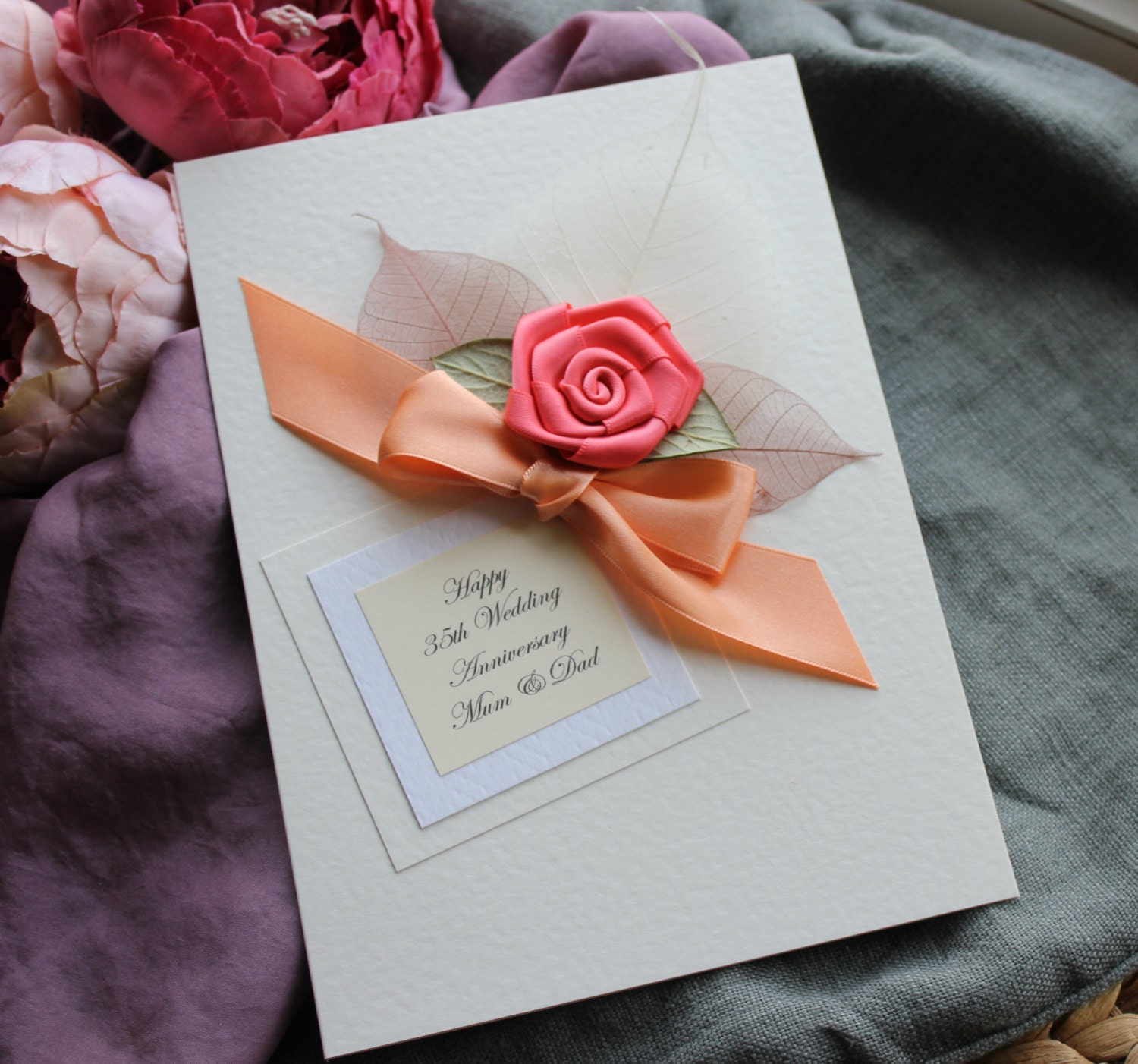 Homemade Anniversary Ideas For Husband: Personalised Handmade Card Coral 35th Wedding Anniversary
