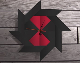 black widow clock,black and red,origami clock,quartz clock,origami decor,spider art,origami art,insect art,customized wall art,chic designs