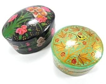 Vintage 1980's Handpainted Lacquered Trinket Boxes