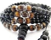 Black Stone And Tiger Eye Gem 108 Bead Prayer Rosary Mala