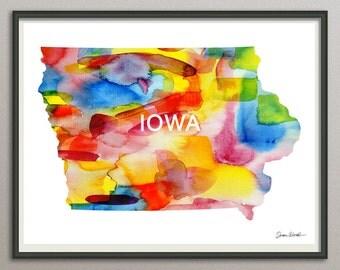 iowa state art print wall art decor poster watercolor painting, united state art print wall art