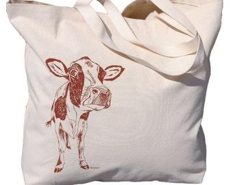Cotton Tote Bag - Large Travel Tote Bag - Large Beach Bag - Chestnut Brown Cow Barnyard Animal Theme