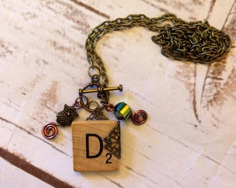 Scrabble Initial Necklace D