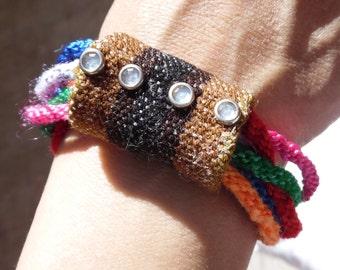 Knot bracelet, Bracelet multi ring made with the technique Kumihimo braiding full color/boho, fashion, trendy