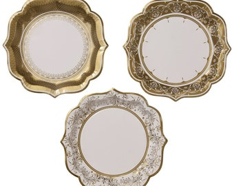 48 medium Gold paper plates- Charm, Christmas or New years eve party