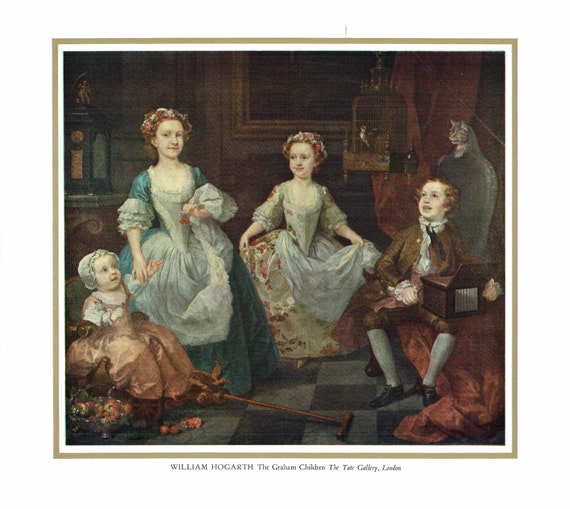 Vintage print of painting by William Hogarth, The Graham Children, painted 18th century, print 13 x 10.5 inches, print published 1950s