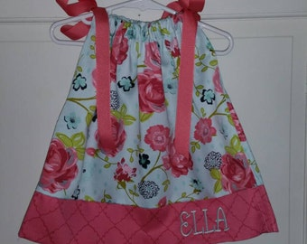 Floral and Coral Pillowcase Dress with Monogram or Name Embroidered. Sizes 6 months to 7 years old.