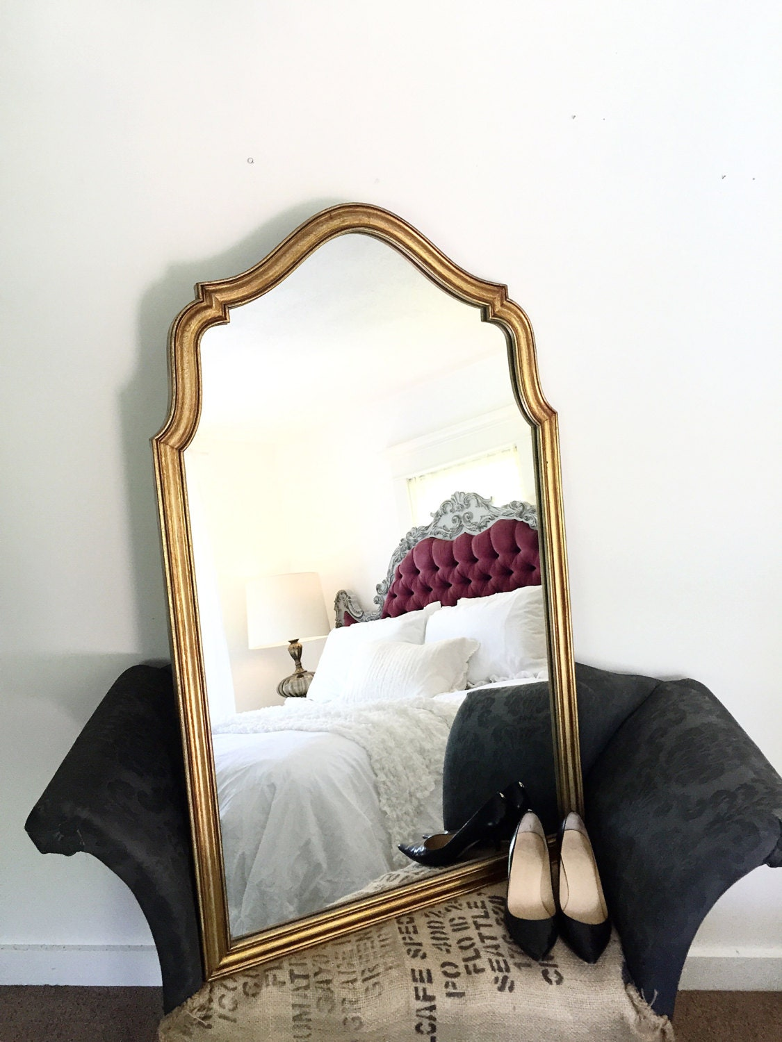 large gold arch wall hanging mirror antique french dressing. Black Bedroom Furniture Sets. Home Design Ideas