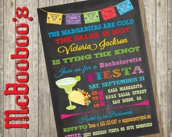 Chalkboard Mexican Fiesta Bachelorette Party Invitations