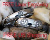 Two Tungsten Wedding Rings His and Hers 4mm & 6mm Dome Zombie Biohazard Design-Free Inside Engraving