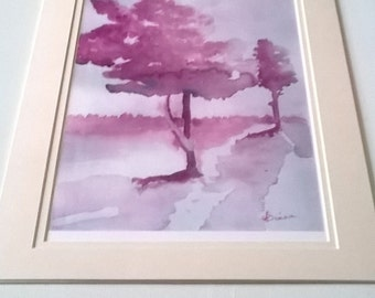 Christmas gift present home decor interior design wall art house warming new home birthday anniversary painting pink trees park land country