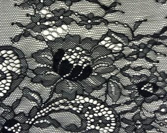 Chantilly Lace Fabric-66cm, Black Eyelash Lace Trim, Wedding Table Decor, Black Floral lace shawl -6545