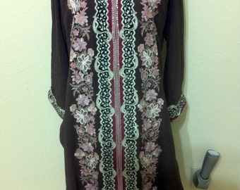 """Vintage  Brown  Ethnic Dress Embroidered in Burgundy,Pink and Gold Design/ Folk Dress/ Hippie Tunic aprox size Large B 38"""""""