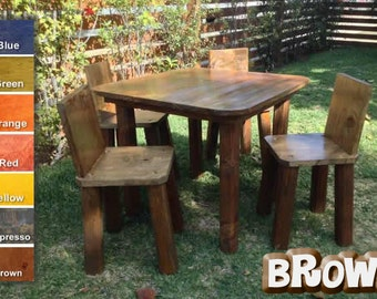 Kids table and chair set, childrens table and chair set, handmade at Jason Varley Designs, solid wood, non-toxic stain, rustic look.