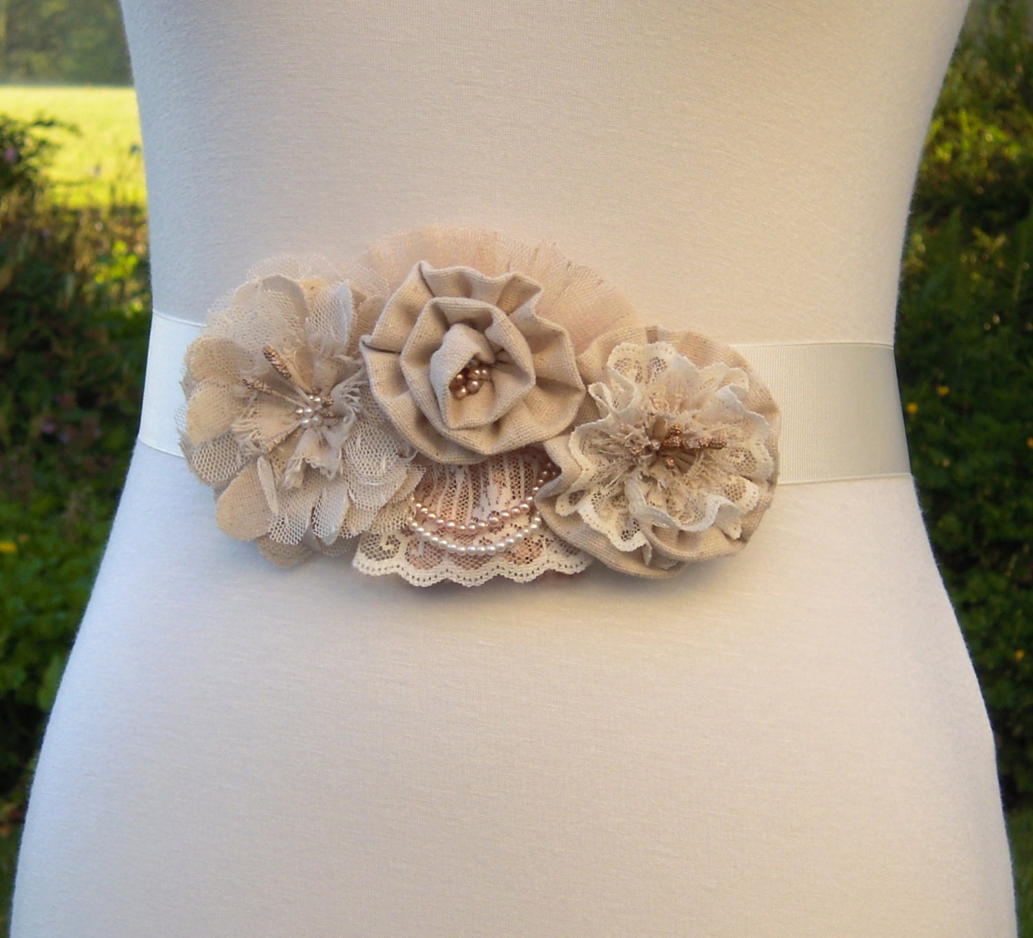 Rustic Chic Wedding Dress Sash Rustic Floral Bridal Sash
