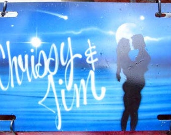 Custom Airbrushed // Names with Kissing Couple // Beach // Sea // Ocean // Love // Front License Plate // Hand-Painted