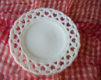 Vintage, Milk Glass Plate, with Open Lace Edge