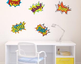 x 5 Comic Pop Art Vinyl Grahic Sticker Decal for Walls, Laptops or Windows