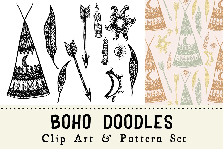 boho doodles digital clip art and pattern set bohemian teepee clip art silhouette teepee clip art image