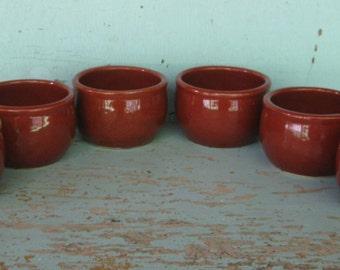Set of 6 Vintage Oven Ware USA Brown Glaze Soup Cups Bowls