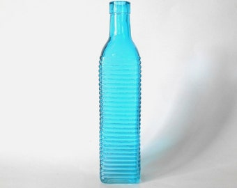 Blue colored Glass bottle, square tall bottle, 16.9 oz, 500 ml, blue vase, DIY gift, wedding favor supply, party favor supply, hostess gift