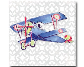 "watercolor bi-plane art panel- gray modern background - airplane wall decor-  12""x12"""