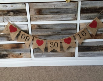 Save the Date Banner, Save the Date Burlap Banner, Engagement Prop, Wedding Decoration