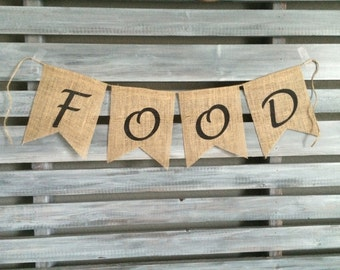 Food Burlap Banner, Food Banner, Wedding Burlap Banner, Food Sign, Food Station Banner