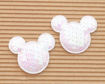 5 white sequined padded Mickey Mouse appliques - bow centers