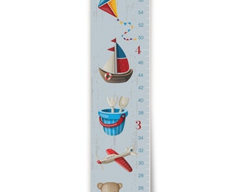 """Personalized """"Vintage Toys"""" Growth Chart in Blue"""