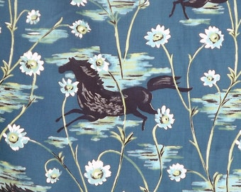 VINTAGE (UNUSED) FABRIC - Teal Blue with Beautiful Prancing Pony & Daisys