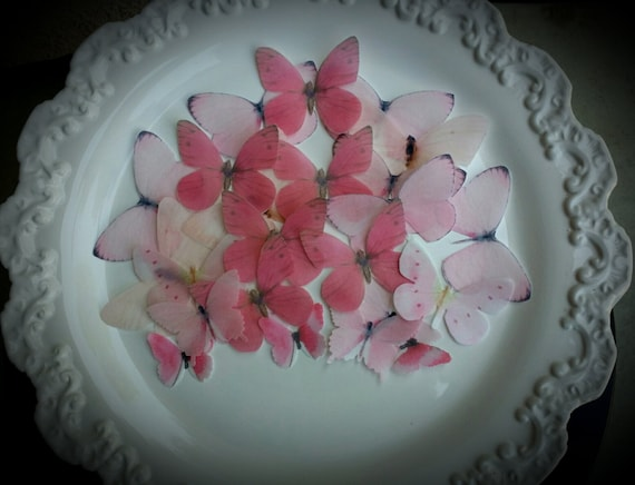 EDIBLE BUTTERFLY 24 Pastel Pink Cake Toppers Wedding ...
