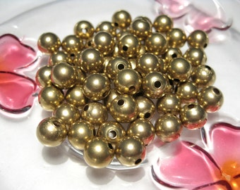 20pcs Brass Tone 8mm Round Hollow Smooth Ball Spacer Beads(No.651)