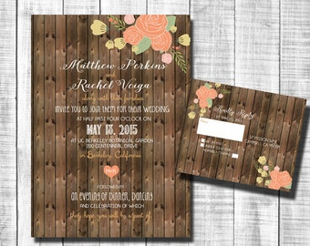 Rustic Wedding Invitations Suite, Wood and Floral Wedding Invitation _29