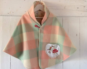 Children's Girls Woollen Garden Cape.Made to order.