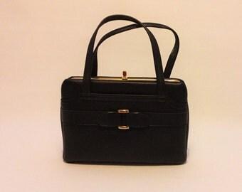 """mid century mod black handbag """"Roni"""" amazing and unused 1960s"""