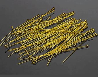 Brass Ball Headpins, Golden Color, 20mm long, 12 gram package
