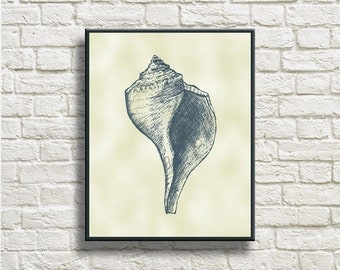 Conch Silhouettes Printable Instant Download Home Decor Wall Decor Wall Hanging DNSC004