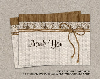 Rustic Wedding Or Bridal Shower Thank You Card | DIY Printable Burlap And Lace Thank You Postcard | Elegant Digital Thank You Cards