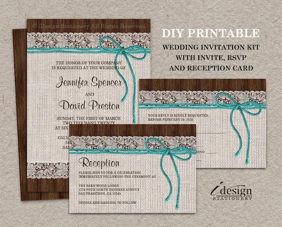Diy Wedding Invitation Kits: Items Similar To Rustic Turquoise Wedding Invitation Sets